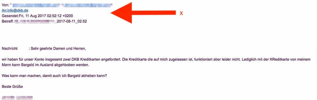 1 DKB Cash Test Service Support - Anfrage