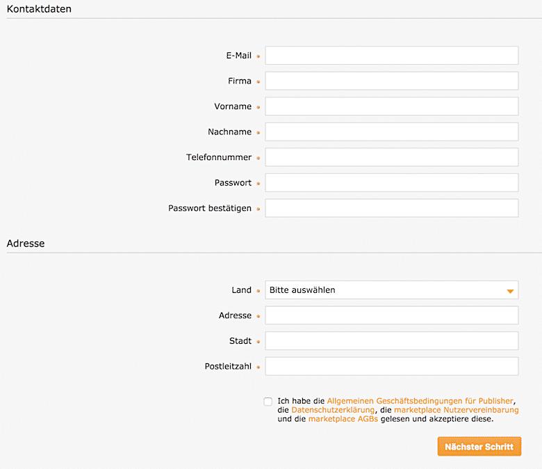 Anmelde-Formular zum Affiliate Marketing über Zanox und Awin