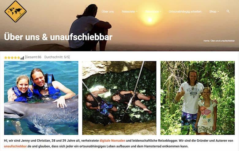 """Screenshot von unaufschiebbar.de: """"Über uns"""""""