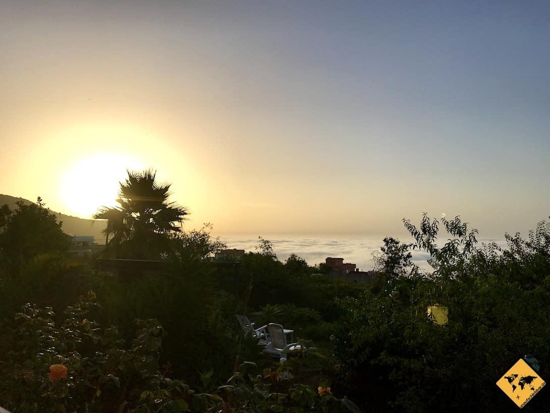 AirBnB Apartment Icod Ausblick Wolken Sonnenuntergang