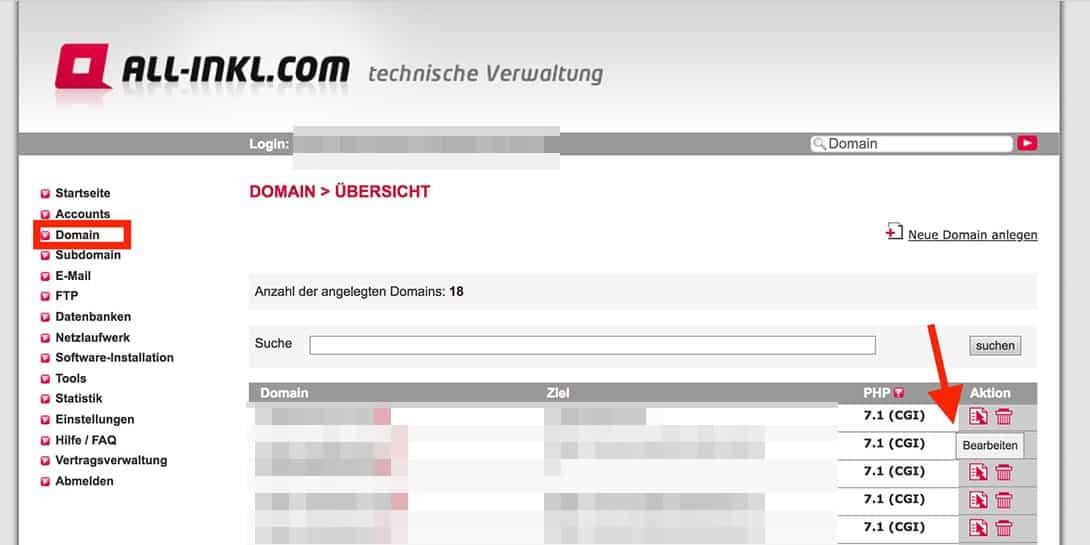 All-Inkl Domain bearbeiten