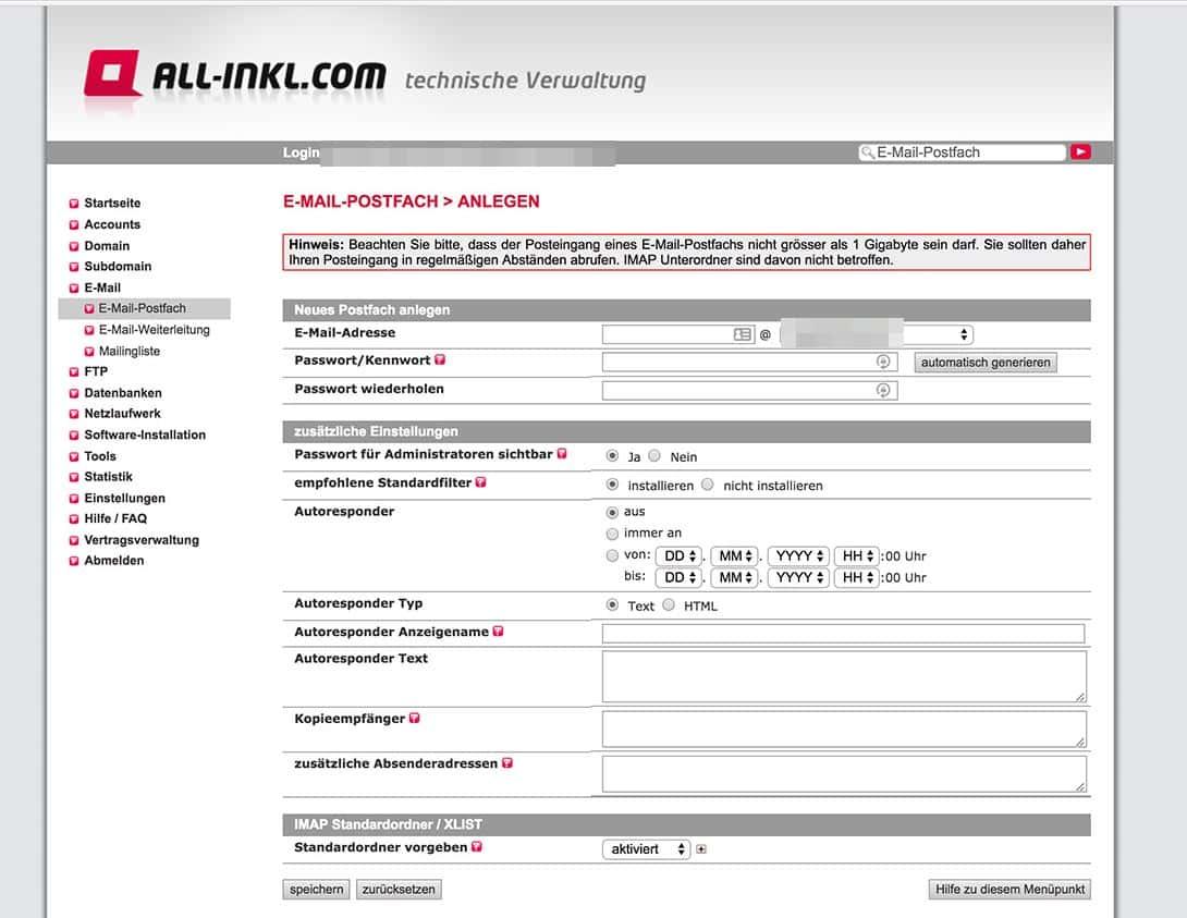 All-Inkl Email einrichten Postfach anlegen