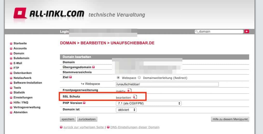 All-Inkl SSL Schutz