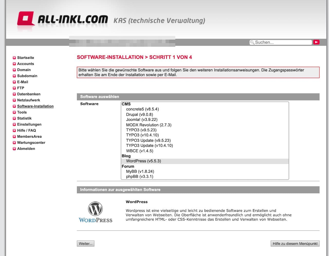All Inkl WordPress installieren