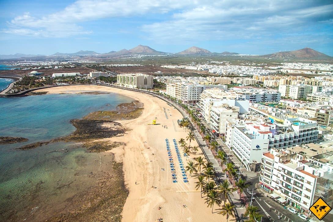 Arrecife Playa del Reducto von oben Gran Hotel & Spa