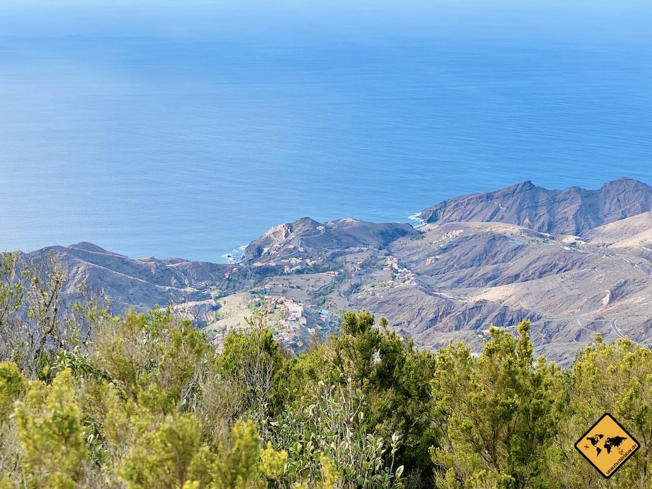 Ausblick Alojera Wanderung Los Barranquillos