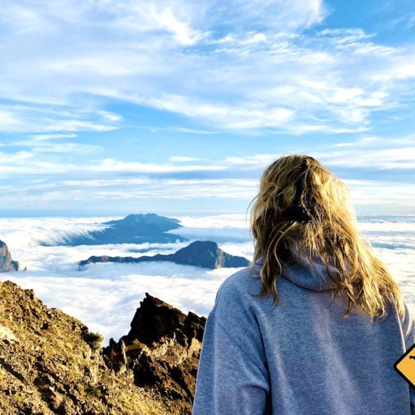 Ausblick Caldera de Taburiente Wolken-Wasserfall La Palma Roque de los Muchachos