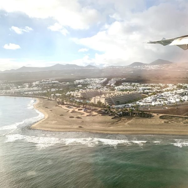 Ausblick Flugzeug Lanzarote Arrecife Airport