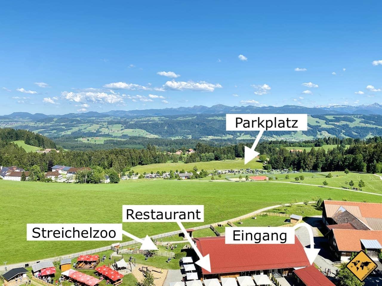 Ausblick Restaurant Streichelzoo Parkplatz