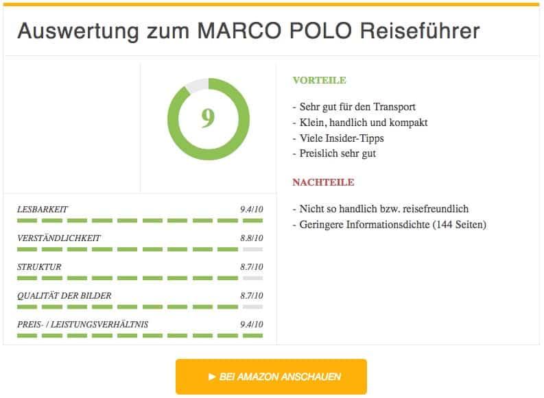 Auswertung MARCO POLO Reiseführer Bali
