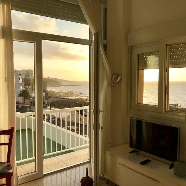 Bajamar Teneriffa Apartment Wohnzimmer Meerblick