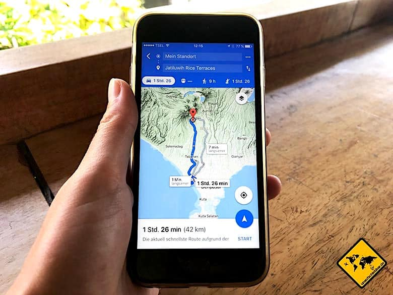 Bali Ausflüge Google Maps Navigation