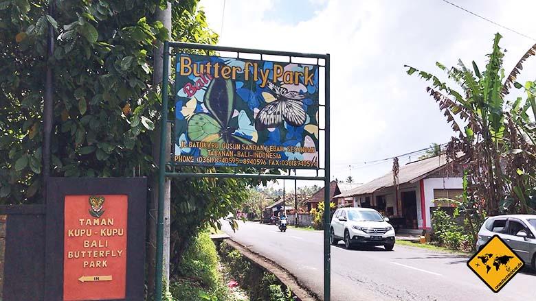 Bali Butterfly Park Tabanan Einfahrt