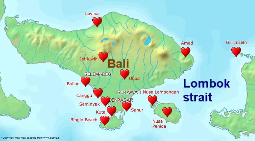 Bali Flitterwochen Rundreise Karte