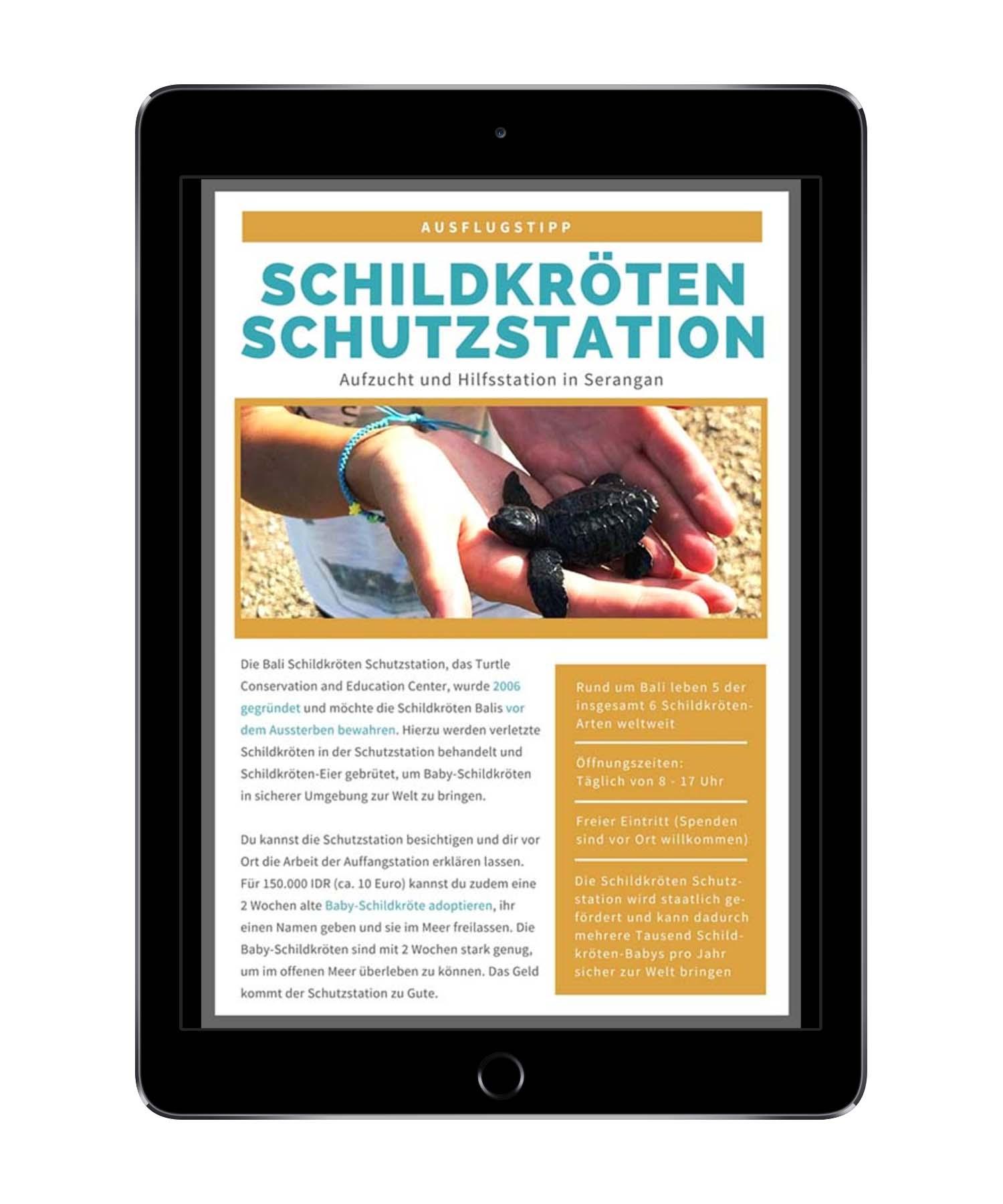 Bali Lombok Rundreise Reiseführer - Schildkröten Schutzstation iPad