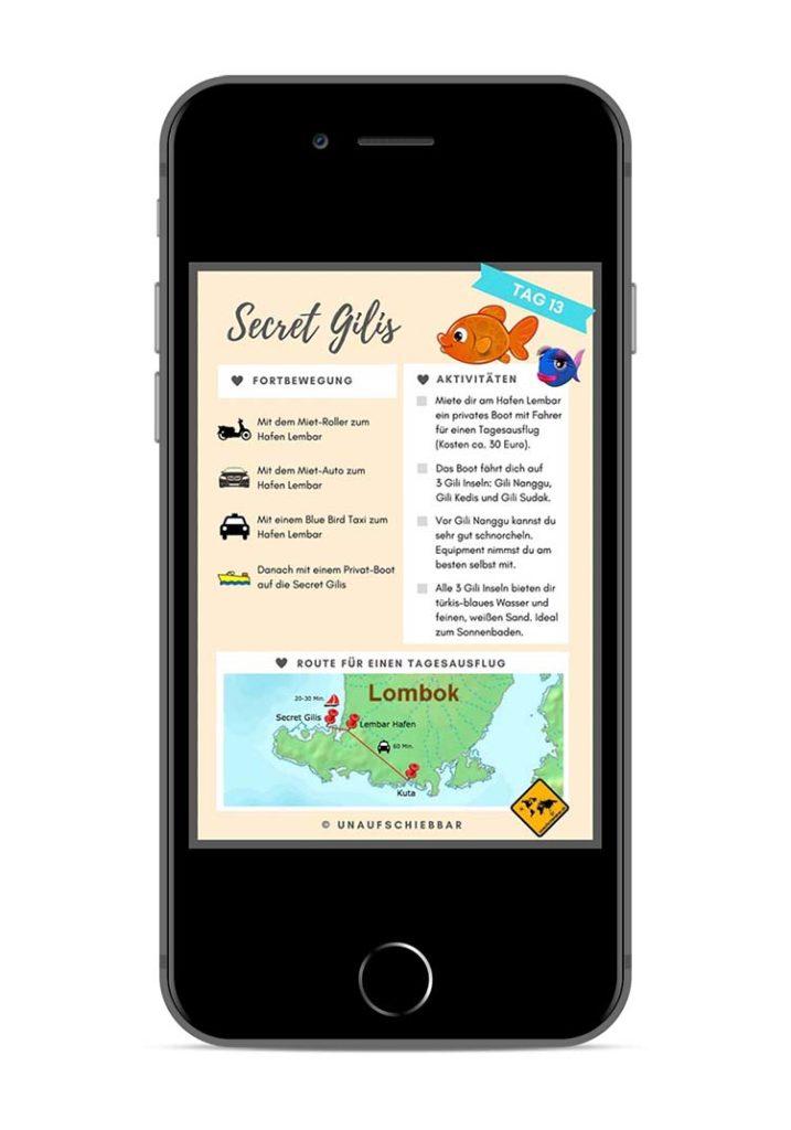 Bali Lombok Rundreise Reiseführer - Tag 13 Secret Gilis iPhone