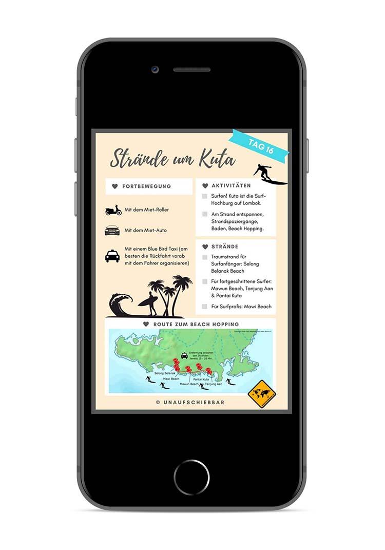 Bali Lombok Rundreise Reiseführer - Tag 16 Kuta Strände iPhone