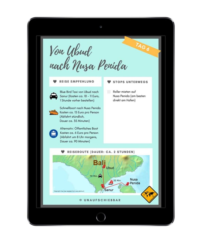 Bali Lombok Rundreise Reiseführer - Ubud nach Nusa Penida iPad