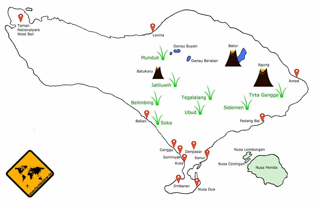 Bali Reisterrassen Karte