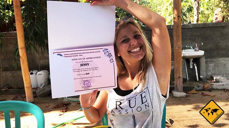 Bali Schildkröten Schutzstation Urkunde