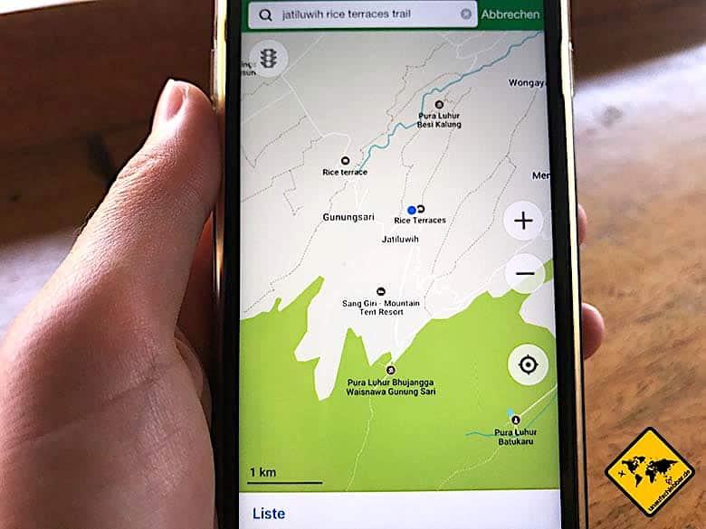 Bali Tagestouren maps.me Navigation
