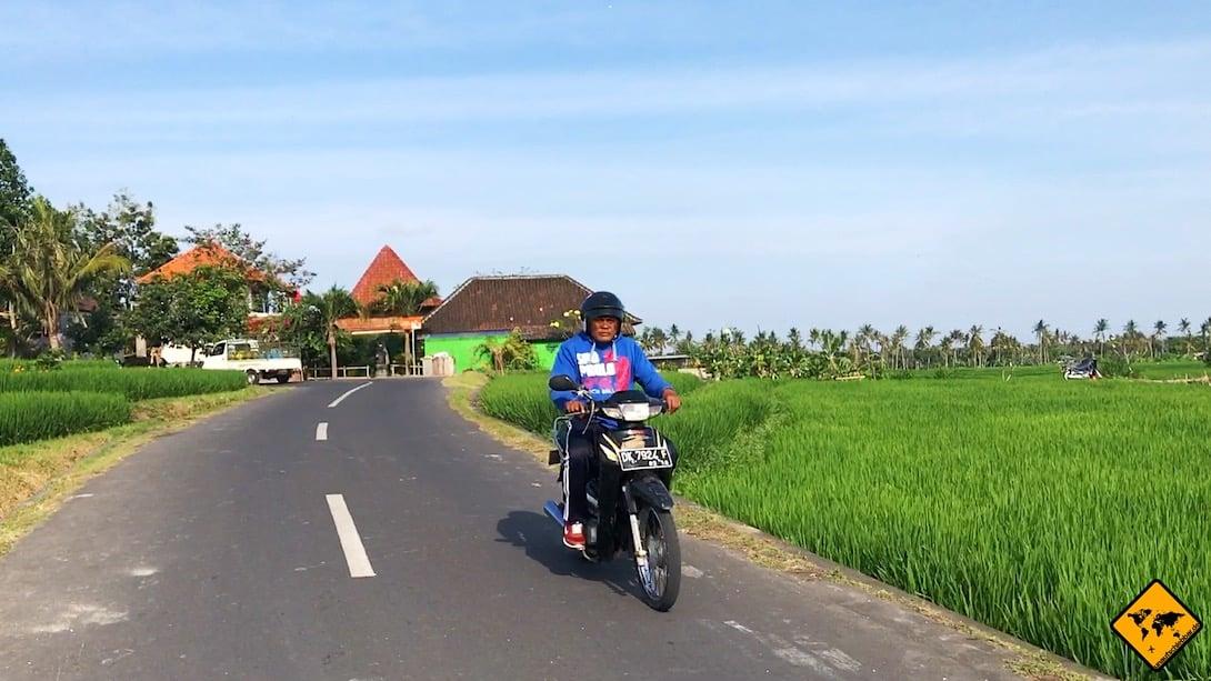 Wenn du mit dem Auto auf Bali unterwegs bist, können Roller besonders leicht übersehen werden. Daher solltest du immer gut in die Spiegel schauen und diese passgenau einstellen.