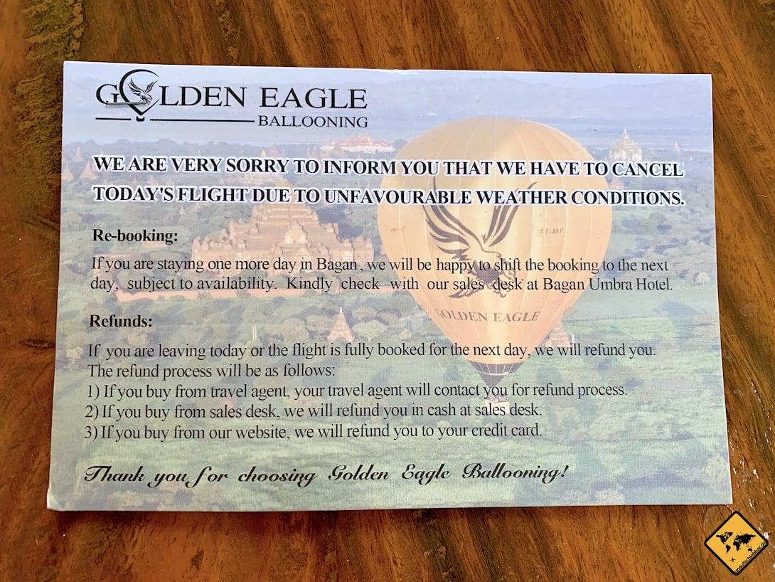 Ballonfahrt Bagan Absage Golden Eagle Ballooning Karte