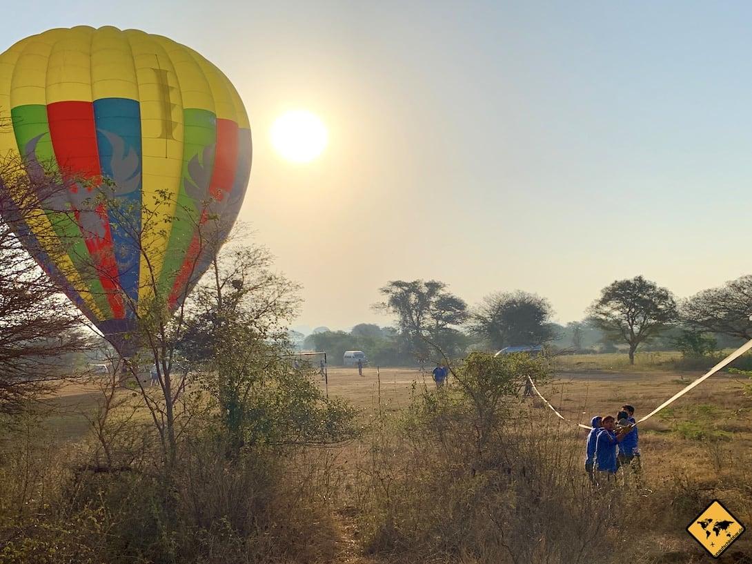 Ballonfahrt Bagan Landung