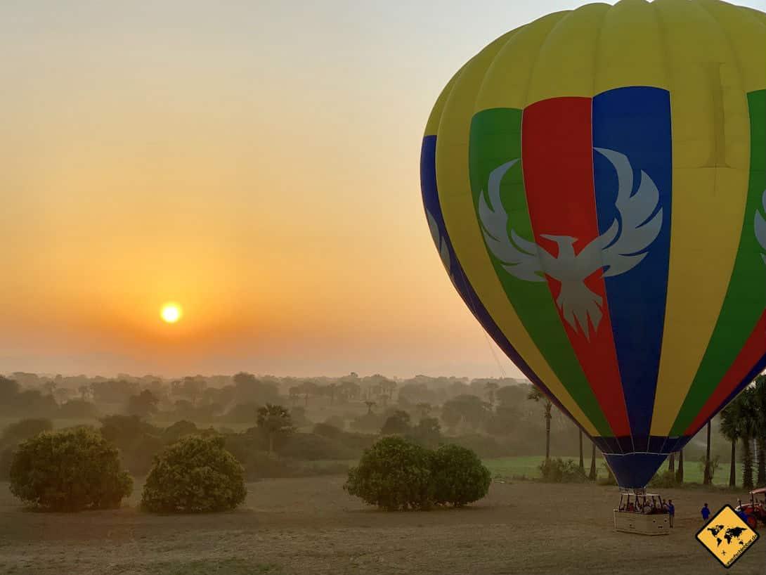 Ballonfahrt Bagan Sonnenaufgang Start