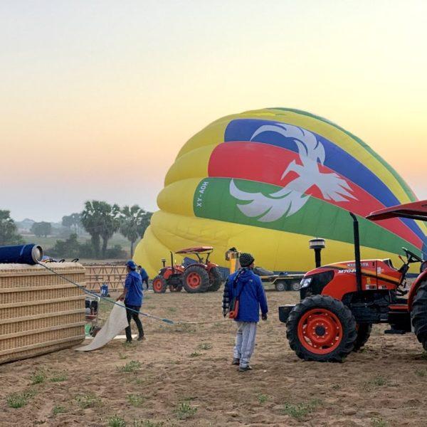 Ballonfahrt über Bagan Vorbereitungen