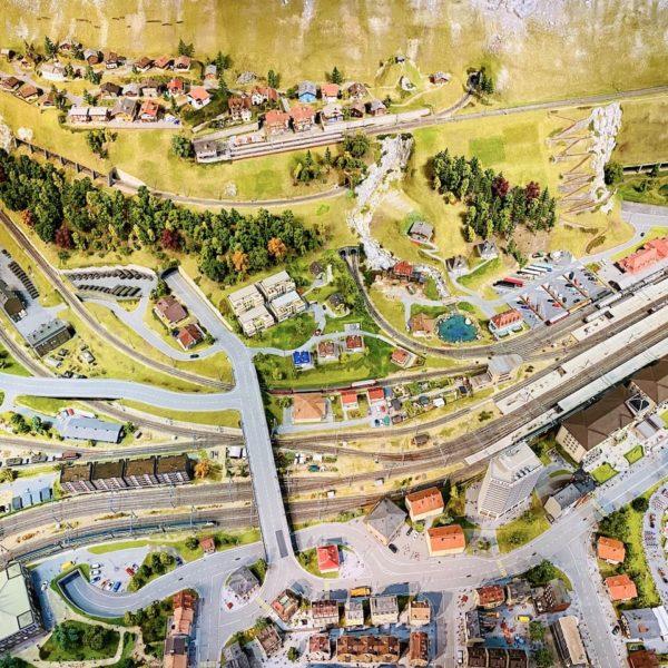Blick von oben Miniaturwelt am Rheinfall