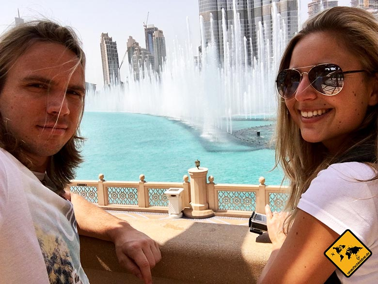 Burj Khalifa Wasserspiele finden tagsüber um 13 Uhr statt