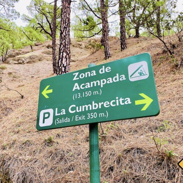 Campingplatz Wanderweg Schild La Palma