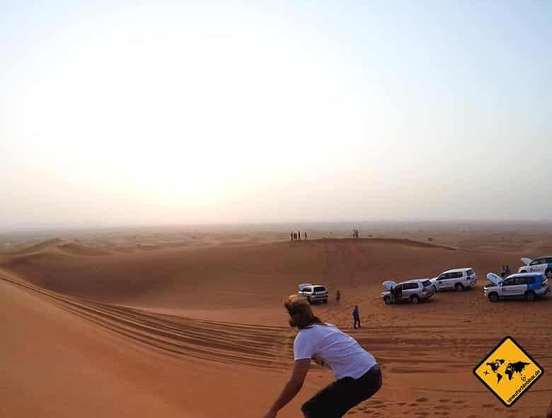 Christian beim Sandboarding Dubai