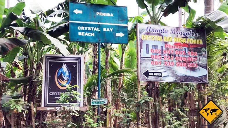 Crystal Bay Beach Nusa Penida Ausschilderung