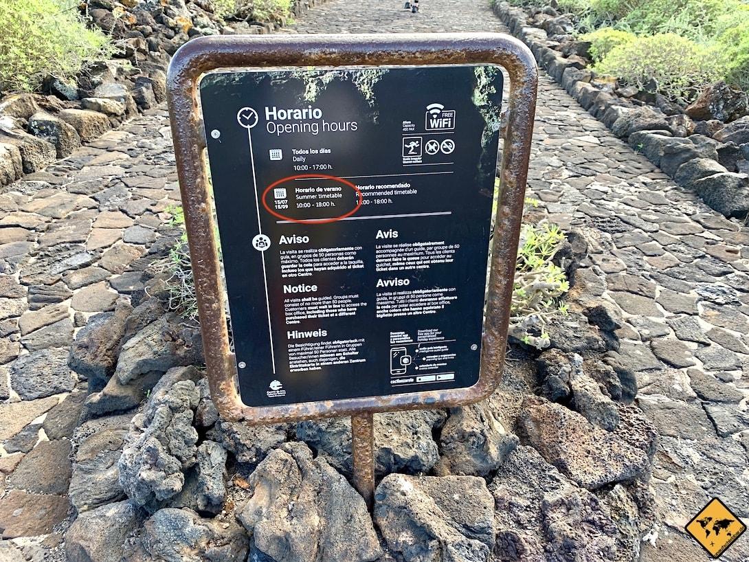 Cueva de los Verdes Lanzarote Öffnungszeiten