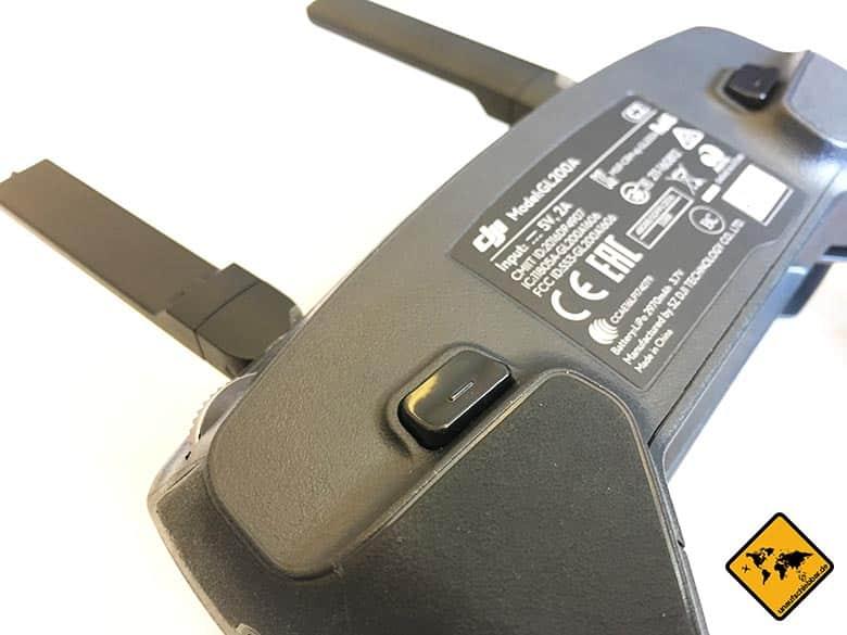 DJI Mavic Pro Test Reisedrohne Fernbedienung Steuerung Controller hinten