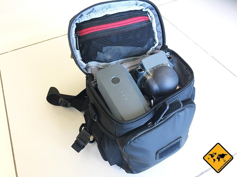DJI Mavic Pro Test Reisedrohne Umhängetasche Tasche Bag von innen
