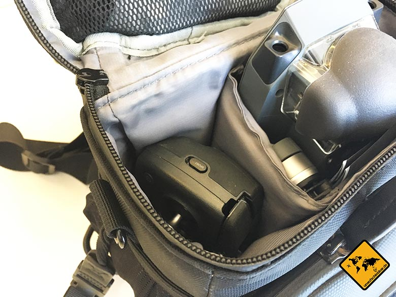 DJI Mavic Pro Test Reisedrohne Umhängetasche Tasche Bag Platzbedarf