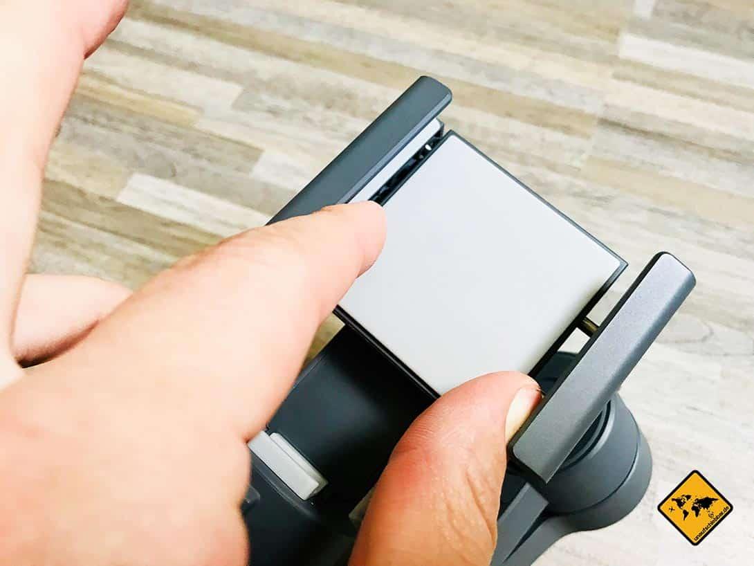 DJI Osmo Mobile 2 Test Mobilgerätehalter Justierung
