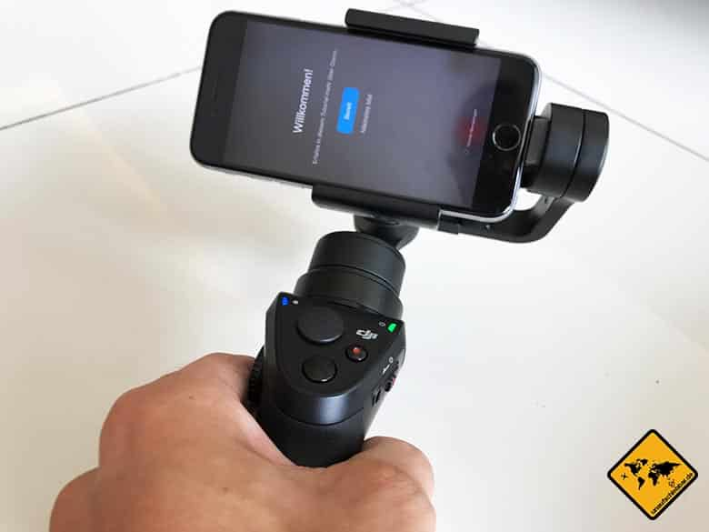 DJI Osmo Mobile Review Smartphone Gimbal Willkommen Display Verbindung
