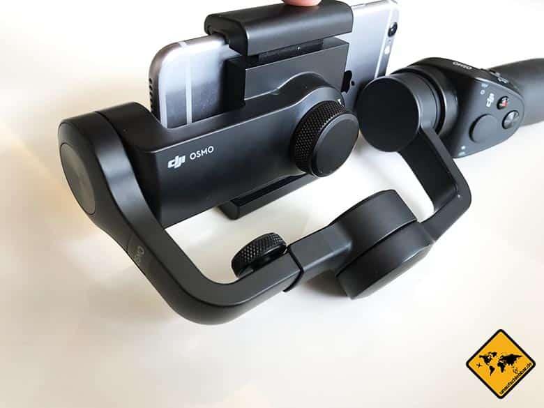 DJI Osmo Mobile Test Smartphone Gimbal von hinten
