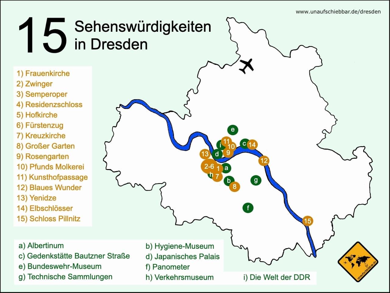 Dresden Sehenswürdigkeiten Karte