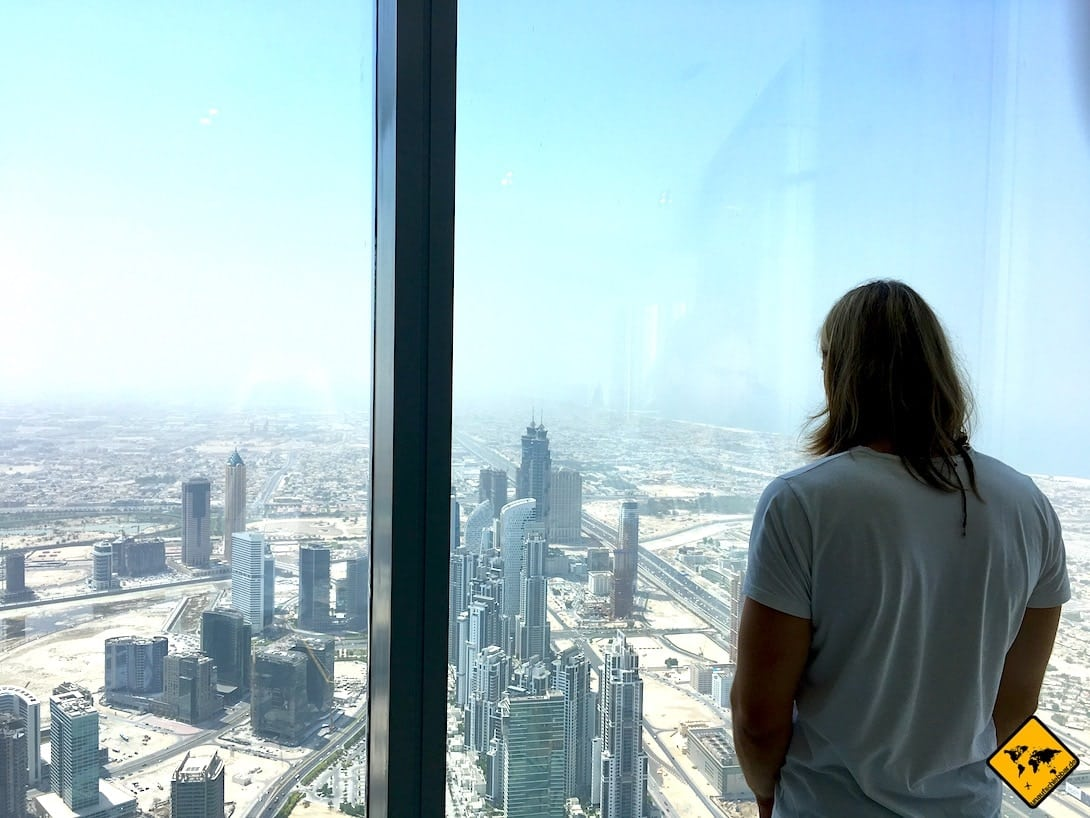 Dubai im Sommer Ausblick Burj Khalifa