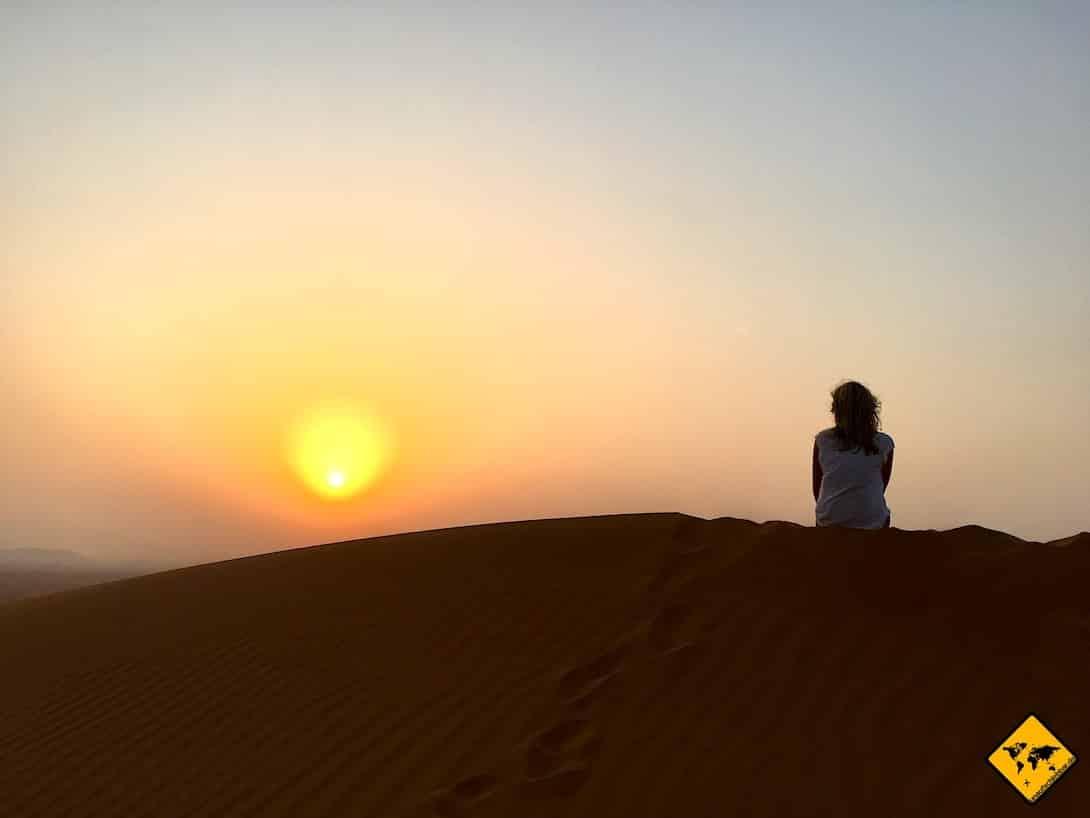 Dubai im Sommer Wüsten-Safari Sonnenuntergang