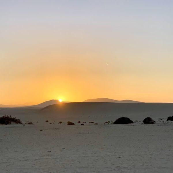 Dünen Corralejo Fuerteventura Sonnenuntergang
