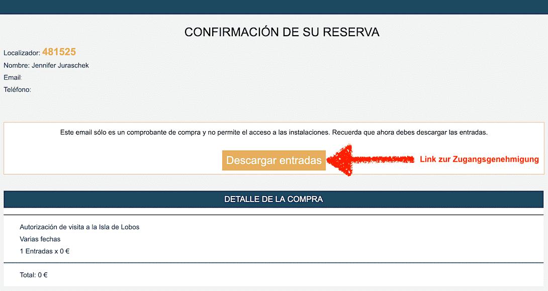E-Mail Genehmigung Isla de Lobos