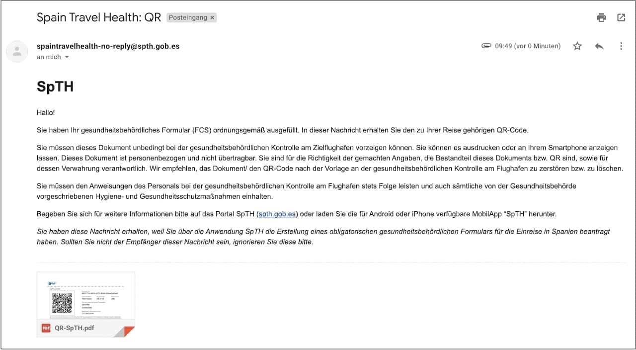 E-Mail QR Code Einreise Kanaren