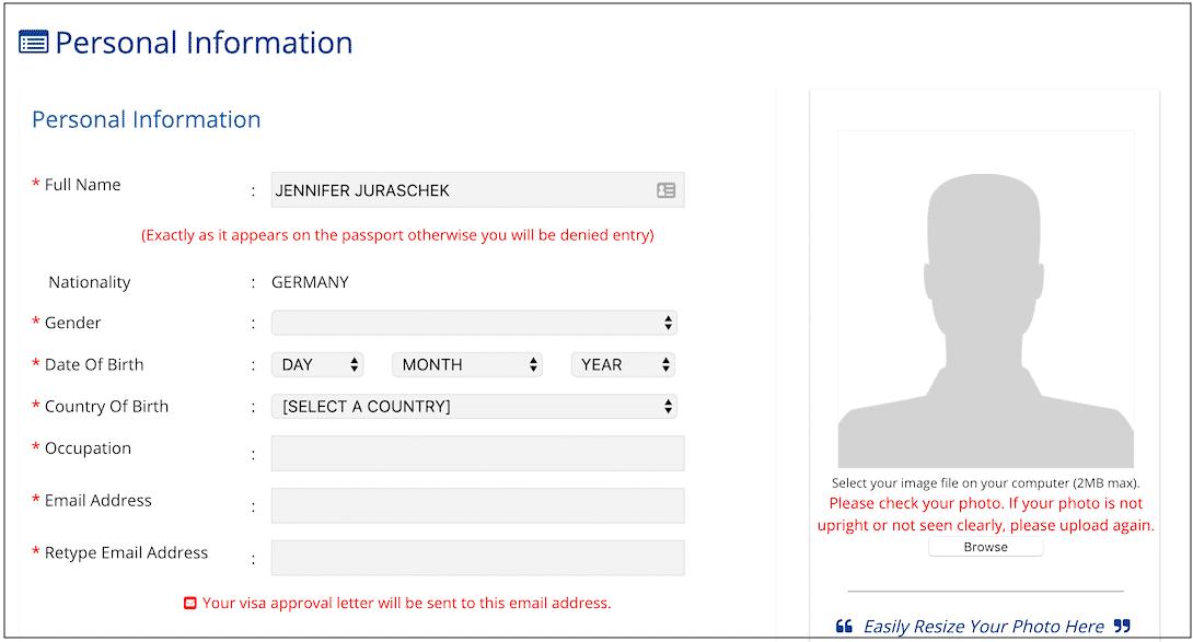 E-Visum Myanmar Eingabemaske