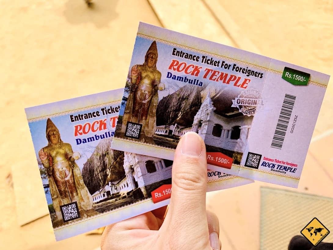Eintrittskarten Höhlentempel Dambulla